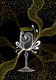 Beautiful abstract wineglass with lace flower bows gold white  on black Royalty Free Stock Photos