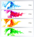 Beautiful abstract woman face silhouettes are on the abstract colorful backgrounds. Set of four headers for banners. Stock Photography