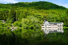 Beautiful abundant natural shades of green mountain background reflection on fresh lake Kinrinko with buildings in springtime. Yufuin, Japan Royalty Free Stock Photography