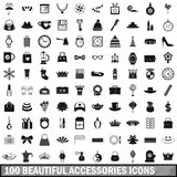 100 beautiful accessories icons set, simple style. 100 beautiful accessories icons set in simple style for any design vector illustration Stock Photography