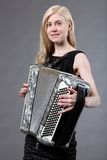 Beautiful accordionist Stock Photography