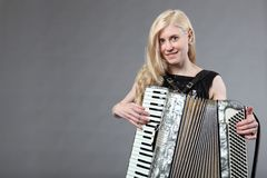 Beautiful accordionist Stock Photo