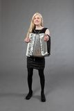 Beautiful accordionist Stock Photos