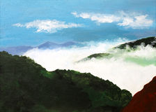 Original painting of a landscape with cloud covered mountain, a child art Stock Image