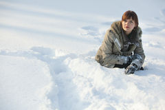 Beautiful active woman in the snow Stock Images