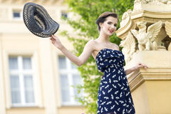 Beautiful actress in old fashion ambient Stock Photos