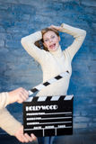 Beautiful actress ready to film a new scene Royalty Free Stock Photography