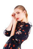 Beautiful adorable blond girl in dress. Picture of a beautiful adorable blond girl in dress Royalty Free Stock Images
