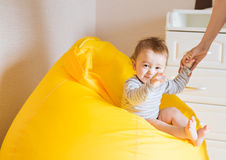 Beautiful adorable laughing baby boy infant face Stock Photography