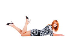 Beautiful adorable smiling girl lying on floor Royalty Free Stock Photo
