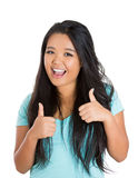 Beautiful, adorable woman with thumbs up sign Stock Photography