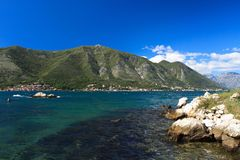 Beautiful Adriatic coast. Clear water and high mountains Stock Images
