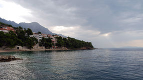 Beautiful Adriatic Sea bay with pines in Croatia. Dalmatia, Makarska riviera stock photography