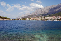 Beautiful Adriatic Sea bay with pines in Croatia Makarska riviera Stock Image