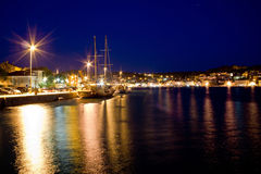 Beautiful adriatic Town of Mali losinj evening. Croatia Royalty Free Stock Photography