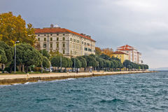 Beautiful Adriatic Town of Zadar waterfront. With pedestrian walkway, Croatia Stock Image