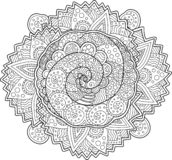 Beautiful adult coloring book page with spirals stock photos