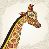Beautiful adult Giraffe in boho. Hand drawn Illustration of ornamental giraffe. Colored giraffe on ornamental background. Beautiful adult Giraffe. Hand drawn Royalty Free Stock Photo