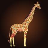 Beautiful adult Giraffe in boho. Hand drawn Illustration of ornamental giraffe. Colored giraffe on ornamental background Stock Image