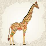 Beautiful adult Giraffe in boho. Hand drawn Illustration of ornamental giraffe. Colored giraffe on ornamental background stock illustration