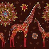 Beautiful adult Giraffe. Hand drawn Illustration of ornamental giraffe. giraffe on dark background. Seamless vector illustration