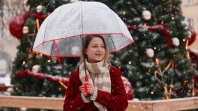 Beautiful adult girl in red coat and scarf with umbrella. White snowfall stay near Christmas tree in Jelenia Gora city, Poland stock video