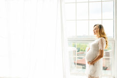 Beautiful adult pregnant woman. Waiting for the baby. Pregnancy. Care, tenderness, motherhood, childbirth. Royalty Free Stock Photography