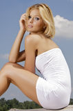 Beautiful adult sensuality woman. Portrait of a beautiful adult sensuality blonde woman Stock Images