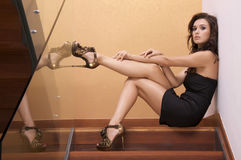 Beautiful adult sensuality woman. Portrait of a beautiful adult sensuality brunette woman Royalty Free Stock Photography