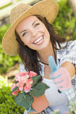 Beautiful Adult Woman Gives Thumbs Up Gardening Outdoors Stock Photos