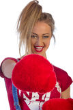 Beautiful adult woman with red fur boxing gloves Stock Image