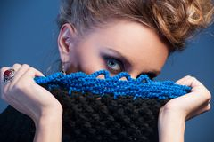 Beautiful adult woman wearing knitted wear. stock photo