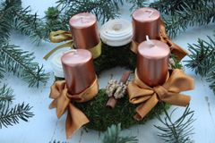 Beautiful Advent wreath Stock Images