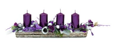 Free Beautiful Advent Wreath With Four Purple Candles And Various Ornaments Isolated On White Background With Shadow Reflection. Stock Photos - 164035083