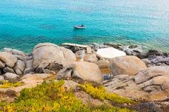 Beautiful aegean sea on Naxos island, Cyclades, Greece. Rocky beach on naxos island stock photos