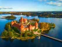 Beautiful drone landscape image of Trakai castle. Beautiful aerial drone landscape image of Trakai castle in Lithuania at Autumn royalty free stock image