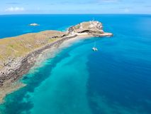 Drone view of Abrolhos, Bahia, Brazil. Beautiful aerial drone view of Abrolhos, Bahia, Brazil stock photo