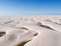 Drone view of Lencois Maranhenses, Maranhao, Brazil. Beautiful aerial drone view of Lencois Maranhenses, Maranhao, Brazil stock photography
