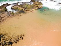 Drone view of Praia de Interlagos, Bahia, Brazil. Beautiful aerial drone view of Praia de Interlagos, Bahia, Brazil stock images