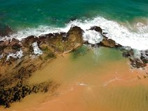 Drone view of Praia de Interlagos, Bahia, Brazil. Beautiful aerial drone view of Praia de Interlagos, Bahia, Brazil stock photo