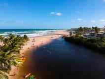 Drone view of Praia do Imbassai, Bahia, Brazil. Beautiful aerial drone view of Praia do Imbassai, Bahia, Brazil stock image