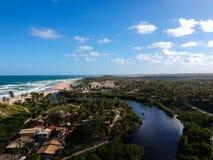 Drone view of Praia do Imbassai, Bahia, Brazil. Beautiful aerial drone view of Praia do Imbassai, Bahia, Brazil royalty free stock images