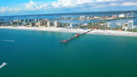 Beautiful Aerial view of Clearwater Beach Florida. Beautiful Aerial Footage in a summer at the City of Clearwater in Florida stock footage
