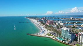 Beautiful Aerial view of Clearwater Beach Florida. Beautiful Aerial Footage in a summer at the City of Clearwater in Florida stock video footage