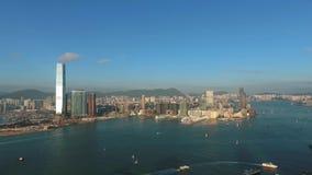 Beautiful aerial Hong Kong sunset view. Big city look around HD. stock footage