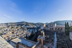 Beautiful aerial image of the Arms Square, Plaza de Armas of the Alhambra and the city of Granada royalty free stock images