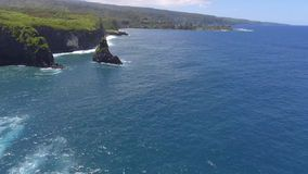 Beautiful aerial 4k drone seascape wild tropical nature of Maui island Hawaii Pacific ocean green beach shore coastline. Beautiful aerial drone seascape wild stock video footage