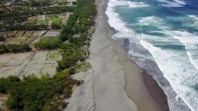 Beautiful aerial landscape of coast in Yogyakarta stock video footage