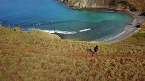Aerial landscape of hiker walking on Padar Island stock video