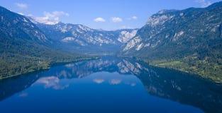 Mountain with lake, slovenia royalty free stock photography